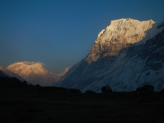 Looking east along the valley towards Kanchenjunga Base Camp as the sun sets.