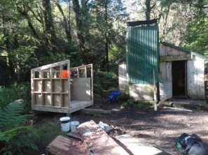 Walls up on the wood shed.
