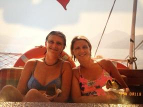 I wish I was here now - me and my sister Emma on a boat trip out of Fethiye, Turkey.