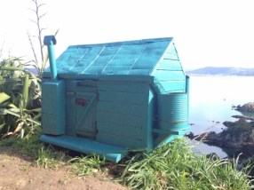 Small model DOC hut on Matiu/Somes Island.