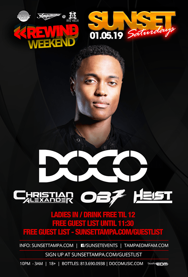 Sunset Events Presents DOCO at The Ritz Ybor in Tampa Florida on Saturday January 5 for Sunset Saturdays
