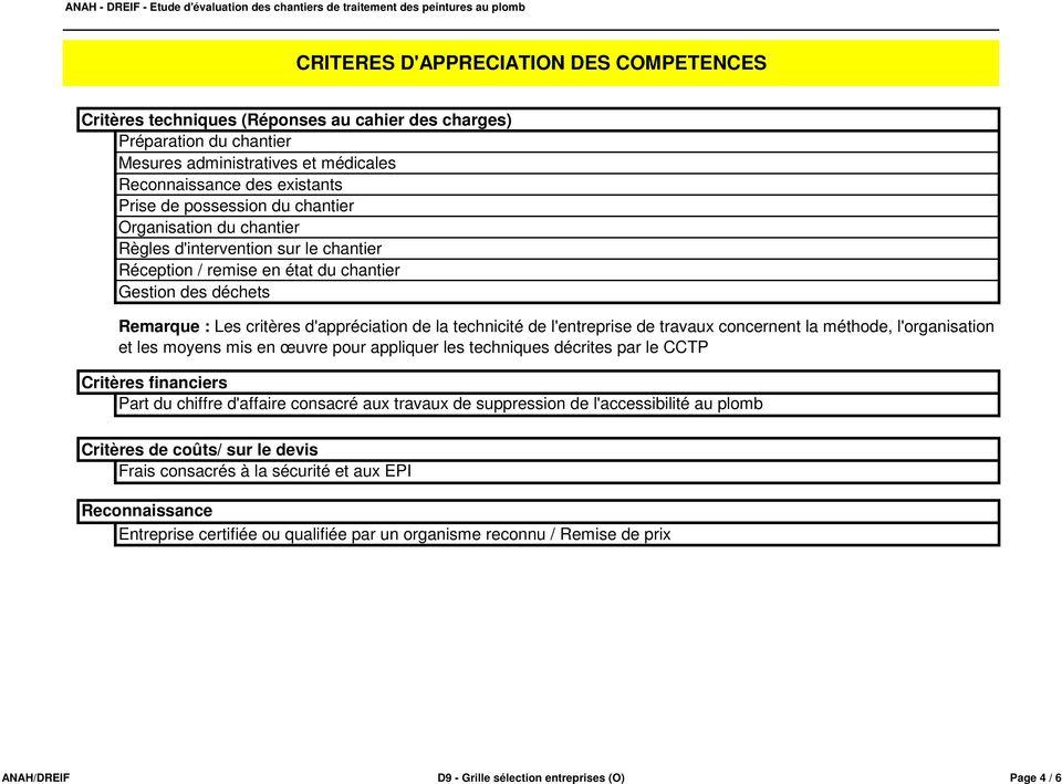 Fiche De Presentation D Outil Grille De Criteres De Selection Des Entreprises De Travaux D9 Pdf Telechargement Gratuit