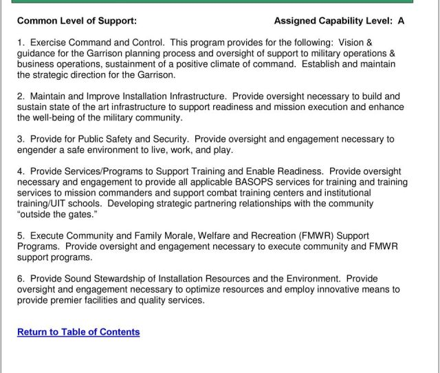 This Program Provides For The Following Vision Guidance For The Garrison Planning Process And