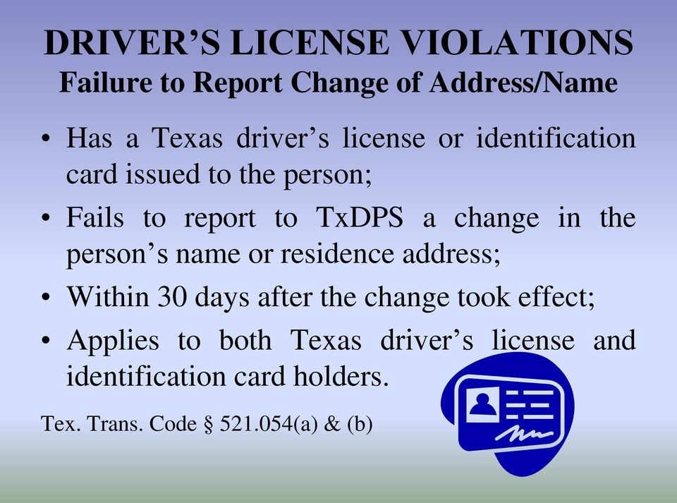 Texas Driver S License Address Change