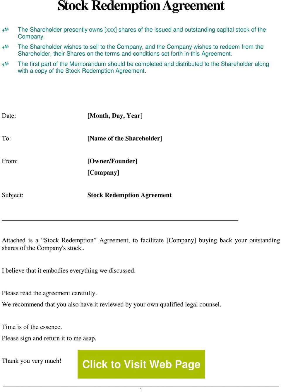 Stock Redemption Agreement Pdf Free Download