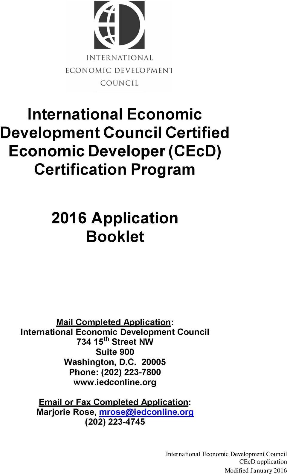 International Economic Development Council Certified