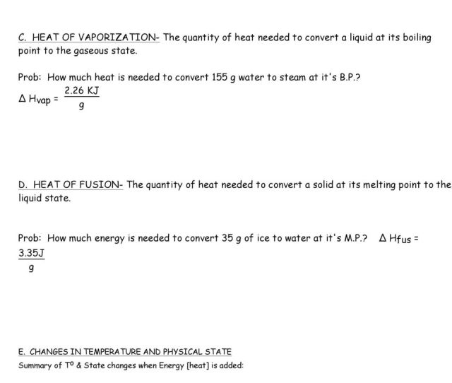 26 Kj Hvap G D Heat Of Fusion The Quantity Of Heat Needed