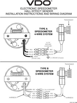VDO ELECTRONIC SPEEDOMETER HALL EFFECT SENDER INSTALLATION INSTRUCTIONS AND WIRING DIAGRAM TYPE