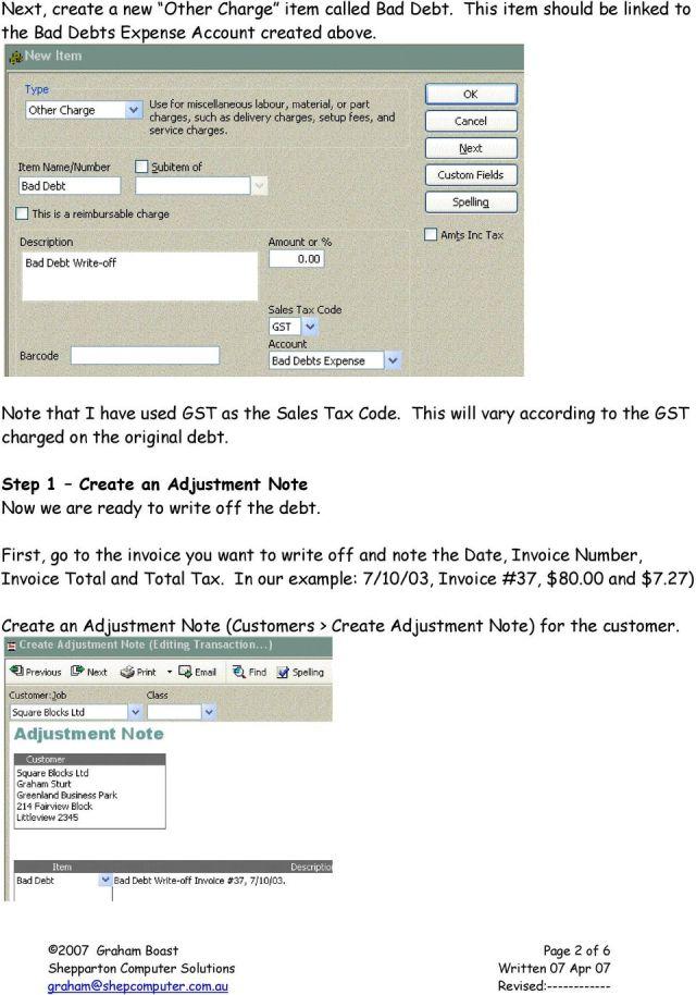 Handling Bad Debts in QuickBooks - PDF Free Download