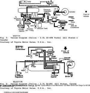 1992 ENGINE PERFORMANCE Toyota Vacuum Diagrams Camry