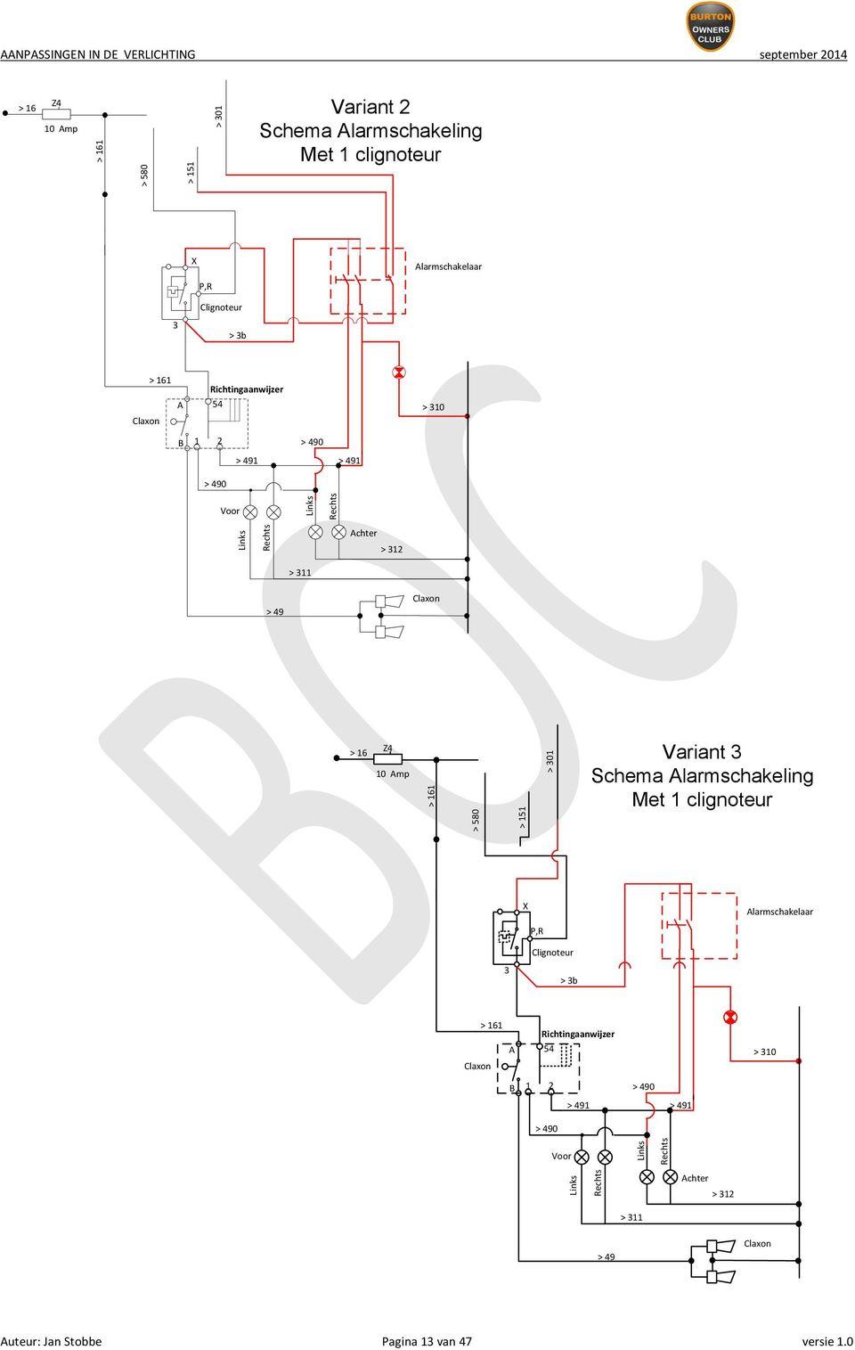 580 > 151 > 301 variant 3 schema alarmschakeling met 1 clignoteur x alarmschakelaar p