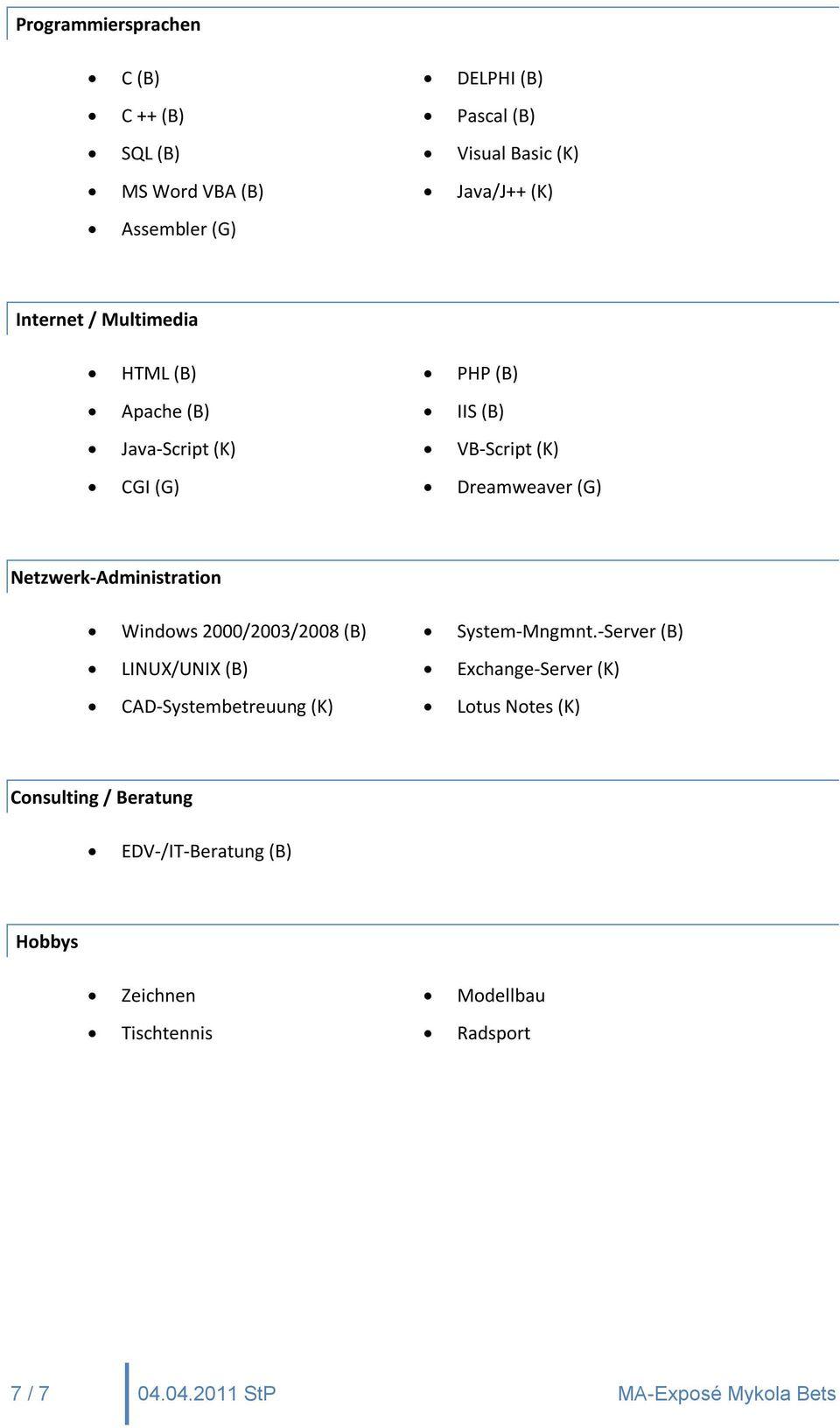 server b linux unix b exchange server k cad systembetreuung k