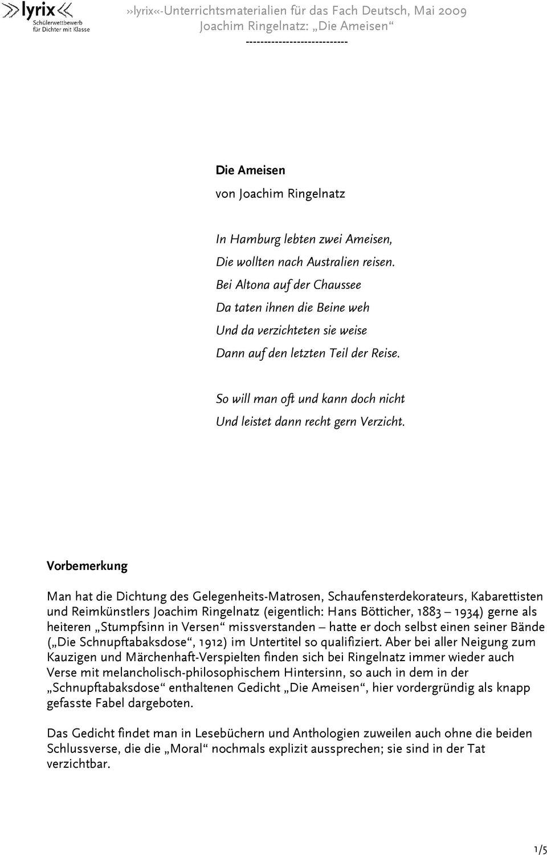 78 Joachim Ringelnatz Gedicht Ameisen Kostenlos Herunterladen