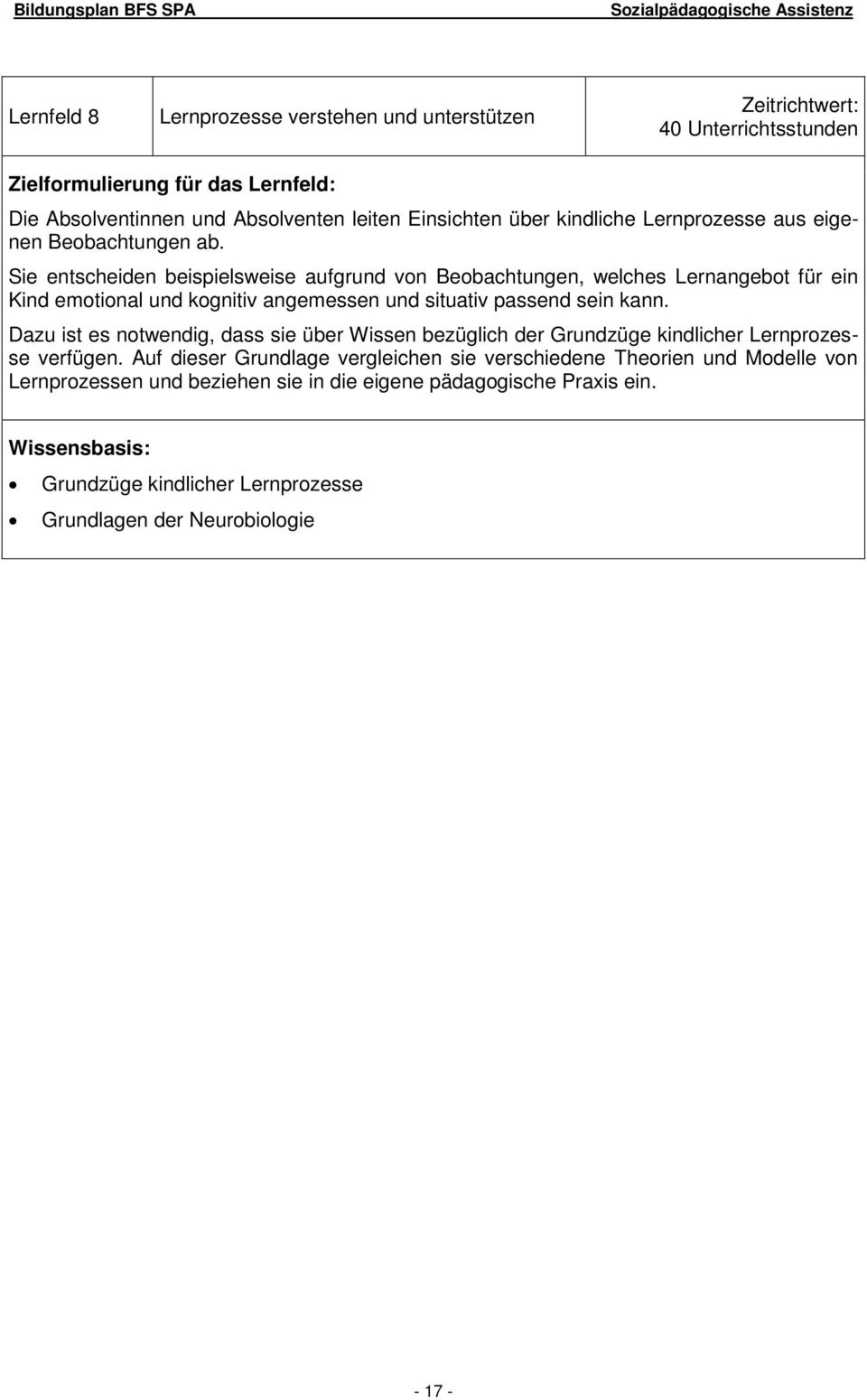 Bildungsplan Berufsfachschule Fur Sozialpadagogische Assistenz