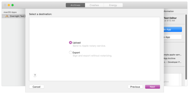 When distributing an app, choosing the upload option sends the app to Apple to be notarized.