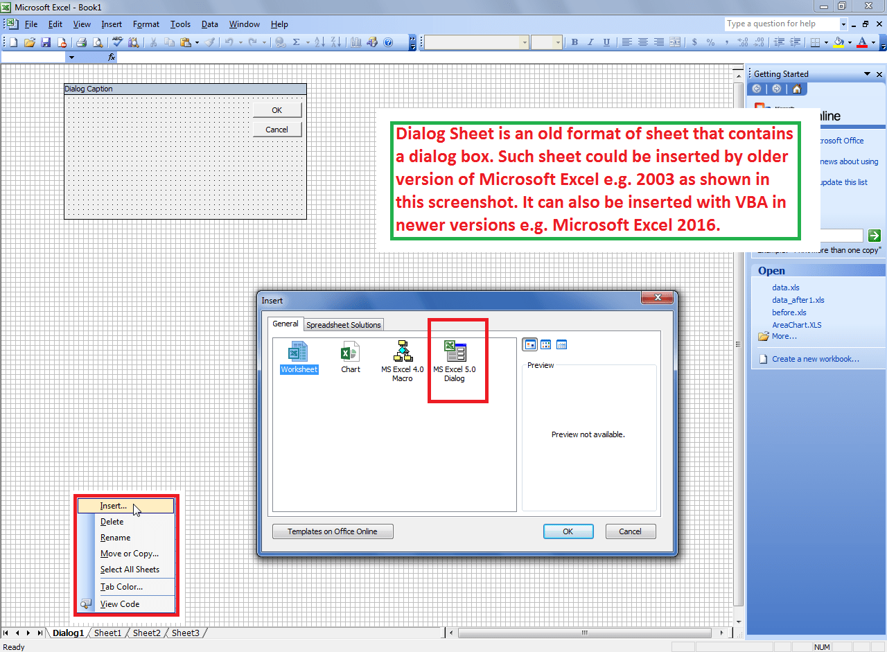 Find If The Worksheet Is Dialog Sheet