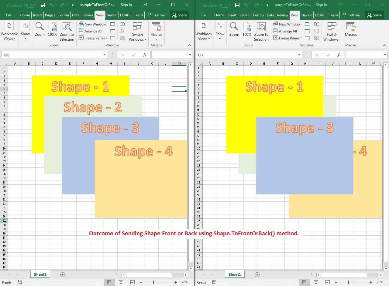 Send Shape Front Or Back Inside The Worksheet
