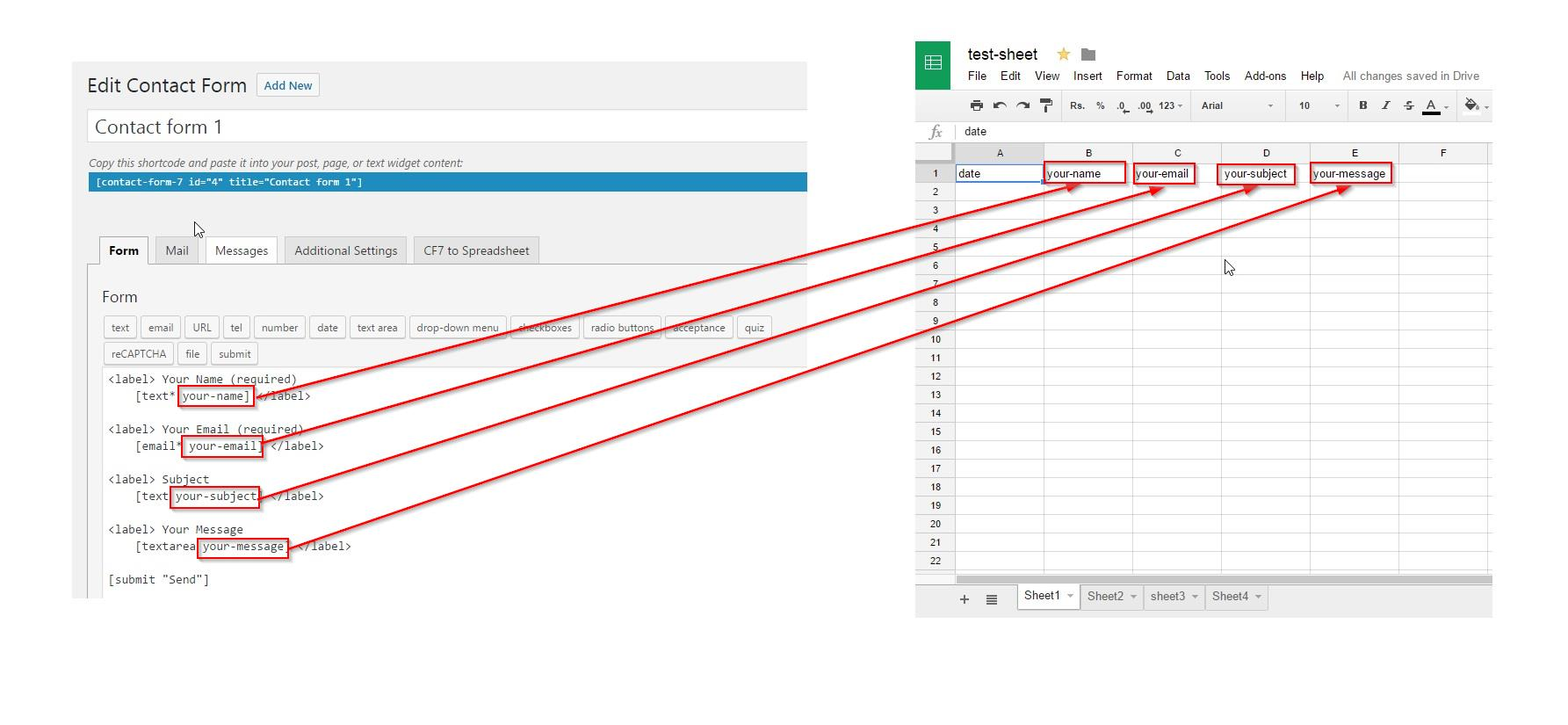 How To Configure Your Spreadsheet With Cf7 To Spreadsheet Plugin Documentation