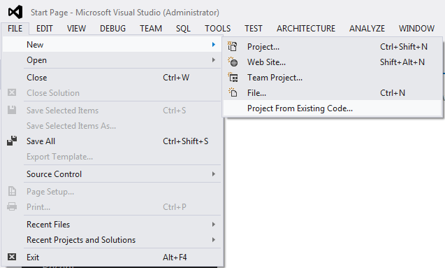 New Project From Existing Code Php Tools For Visual Studio Documentation