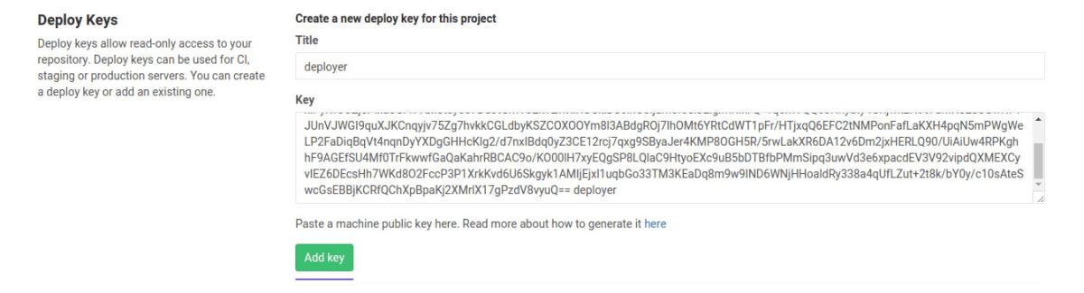 deploy keys page