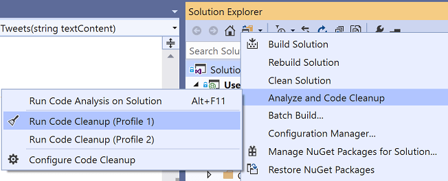 Right-click to run code cleanup over the entire solution