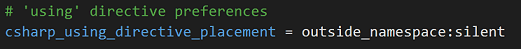 Editorconfig rule for usings outside/inside namespaces