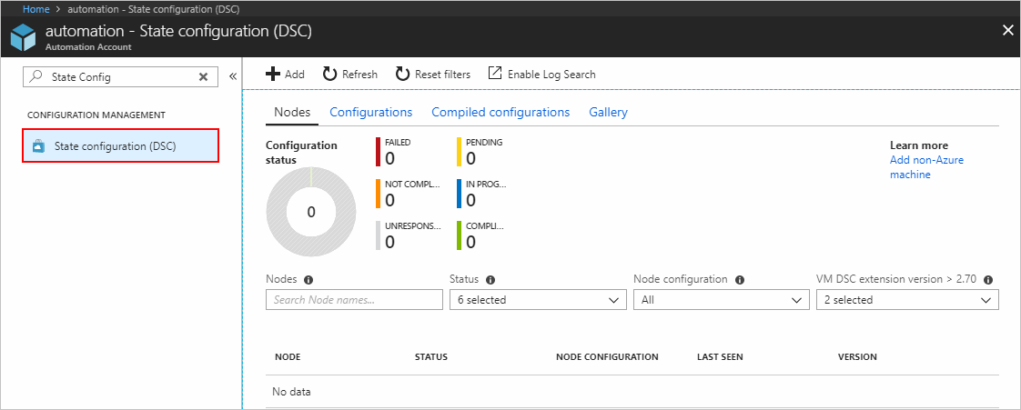 Screenshot of the Azure Automation page
