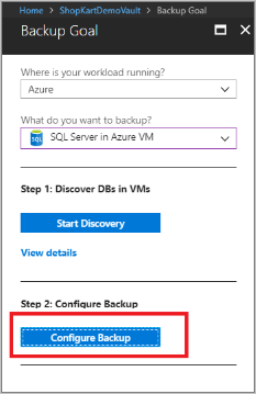 Select Configure Backup
