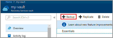 Select Backup to open the Backup Goal menu