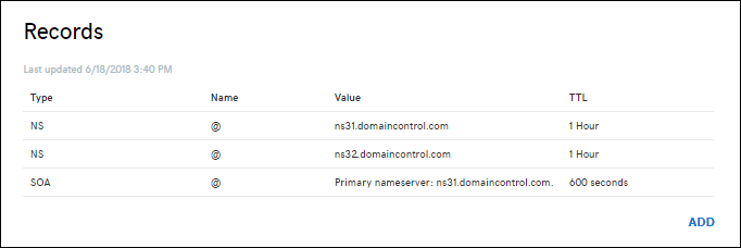 Example DNS records page