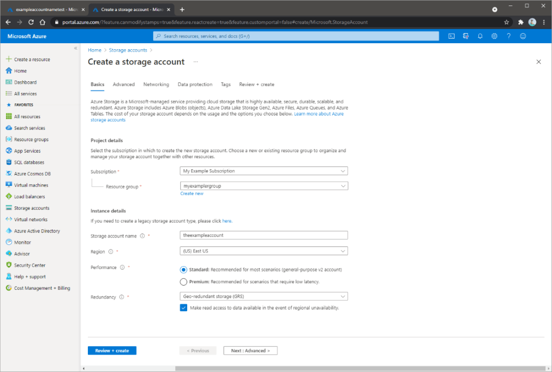 Screenshot showing how to create a storage account in the Azure portal