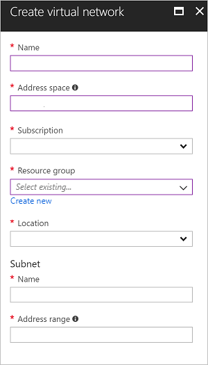 Create virtual network page