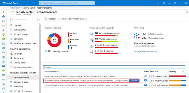 Recommendations page in Azure Security Center filtered to Qualys recommendations