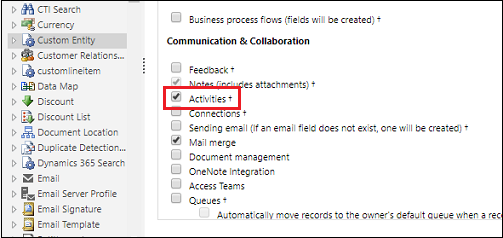 Screenshot from Microsoft documentation: How to enable Activities on a Custom Entity