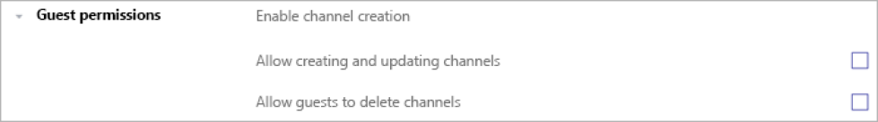Screenshot shows an example of a team/channel settings toggle