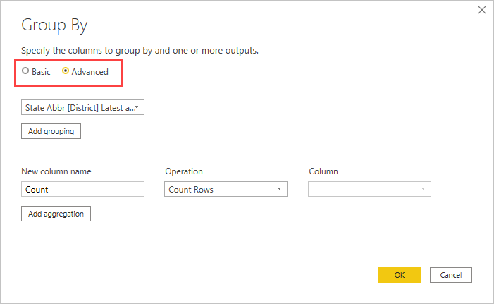Screenshot shows the Group By dialog box with Add grouping and Add aggregation called out.