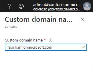 Custom domain name pane