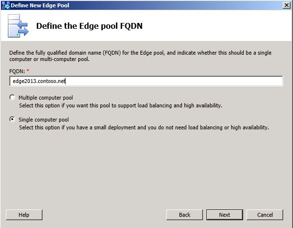 Define the Edge Pool FQDN dialog box
