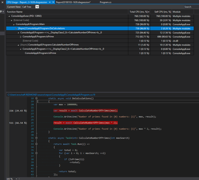 Logical Call Stack Tree with Call Stack Stitching in effect