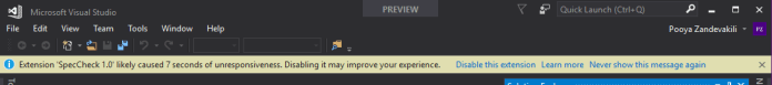 UI Responsiveness notification with option to disable