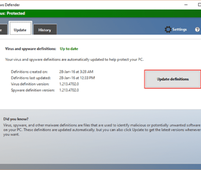 Update Definitions In Windows Defender Antivirus