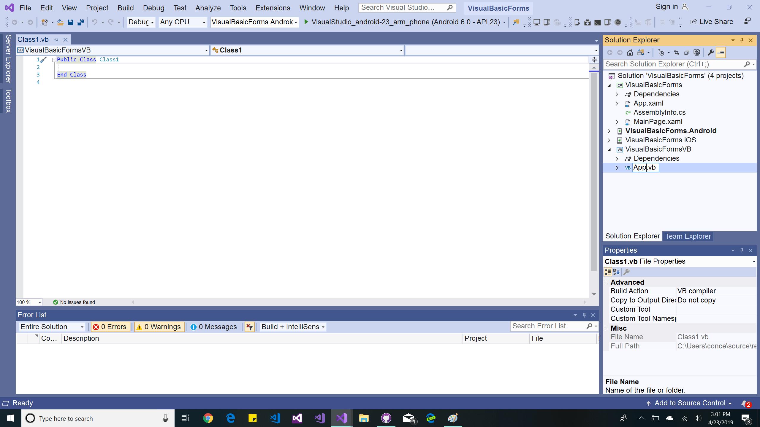 Xamarinrms Using Visual Basic