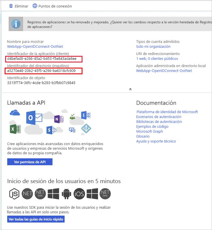 Registro del id. de aplicación (cliente)
