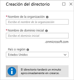 Finalización de la creación del inquilino de Azure AD