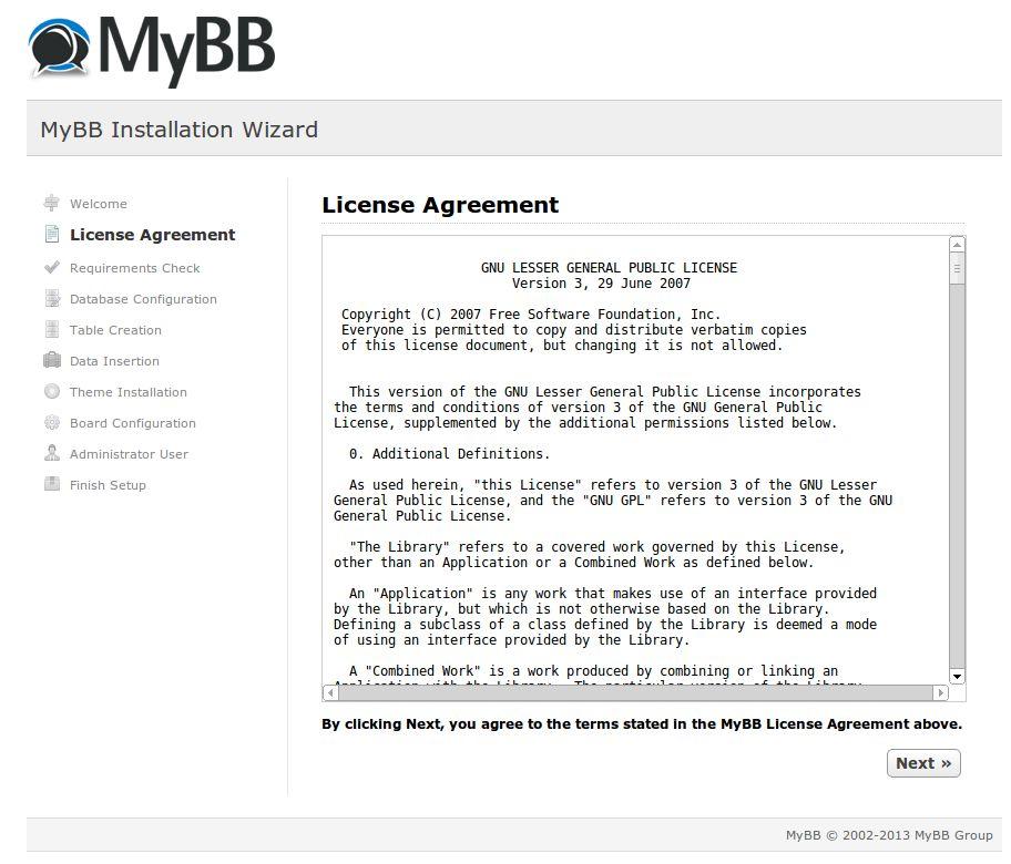 License screen