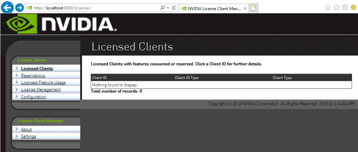 Screen capture showing the home page for the license server management interface.