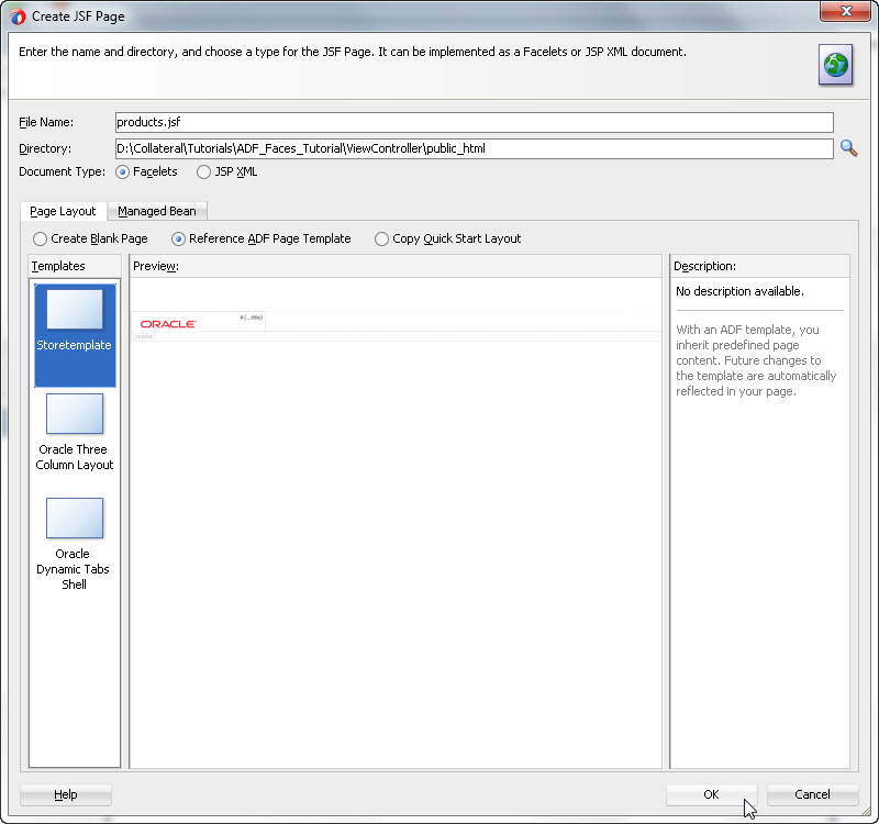 Jsf Template Tutorial  oracle adf jsf page template