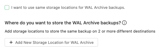Specify other locations for your WAL Archive backups other than your full backup copy location