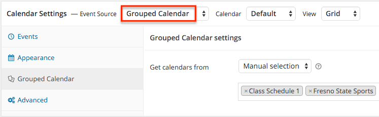 Grouped calendar settings