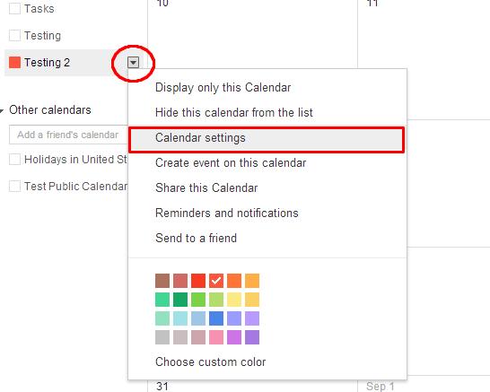 Open Google Calendar Settings